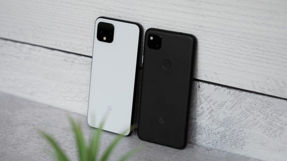 Pixel 4 and Pixel 4a side by side