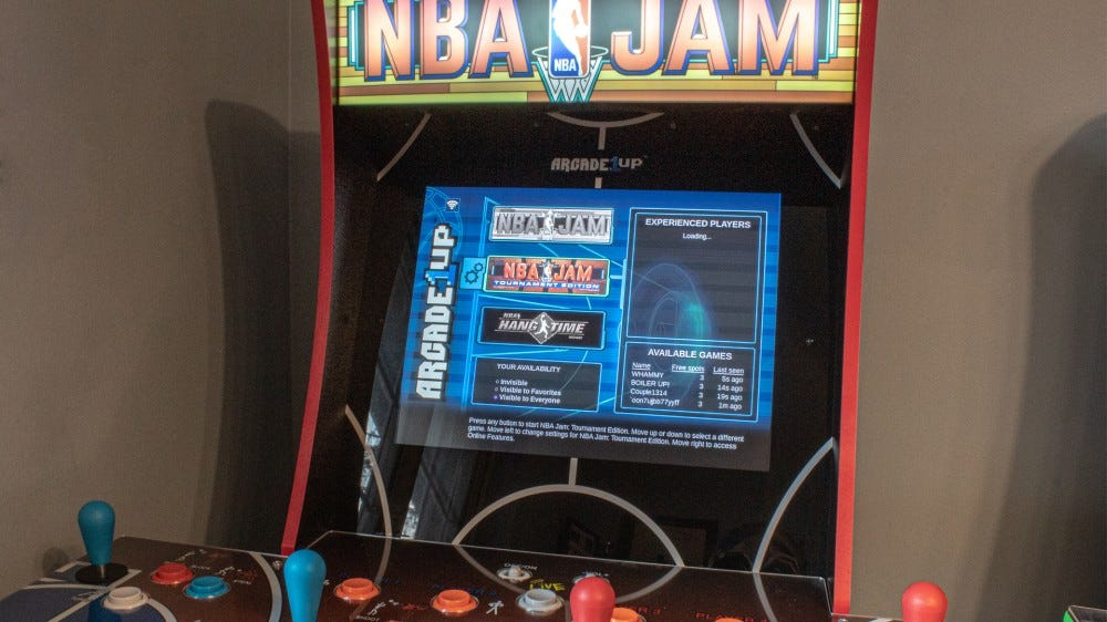 A closeup of the Arcade1Up menu system.