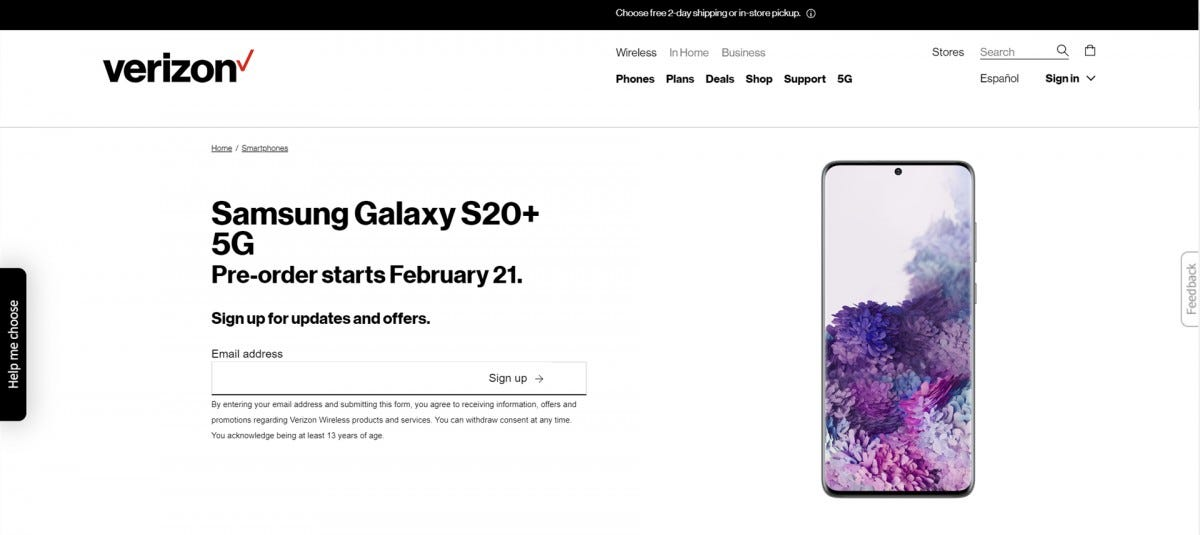 Verizon Galaxy S20 Preorder Page