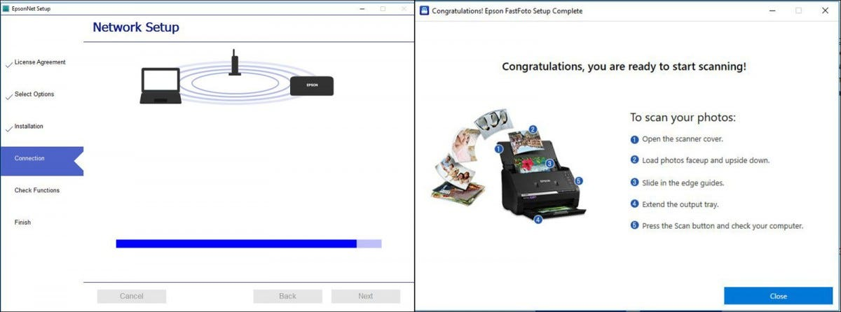 "The ""Connection"" tab in the EpsonNet ""Network Setup"" menu, and the ""Start Scanning"" menu in the FastFoto software."