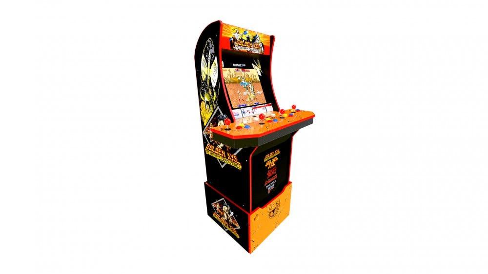 A gold ax arcade machine on a white background.