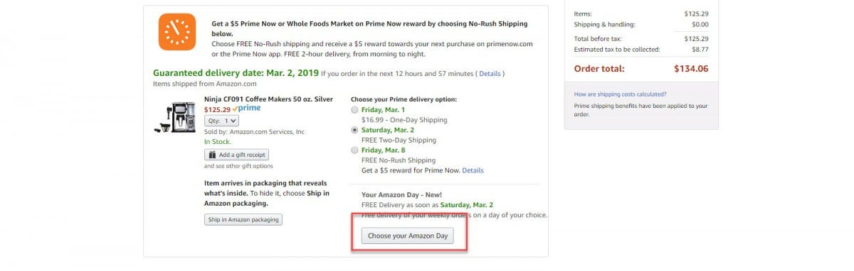 "Amazon checkout options with ""Choose another day"" button call out"