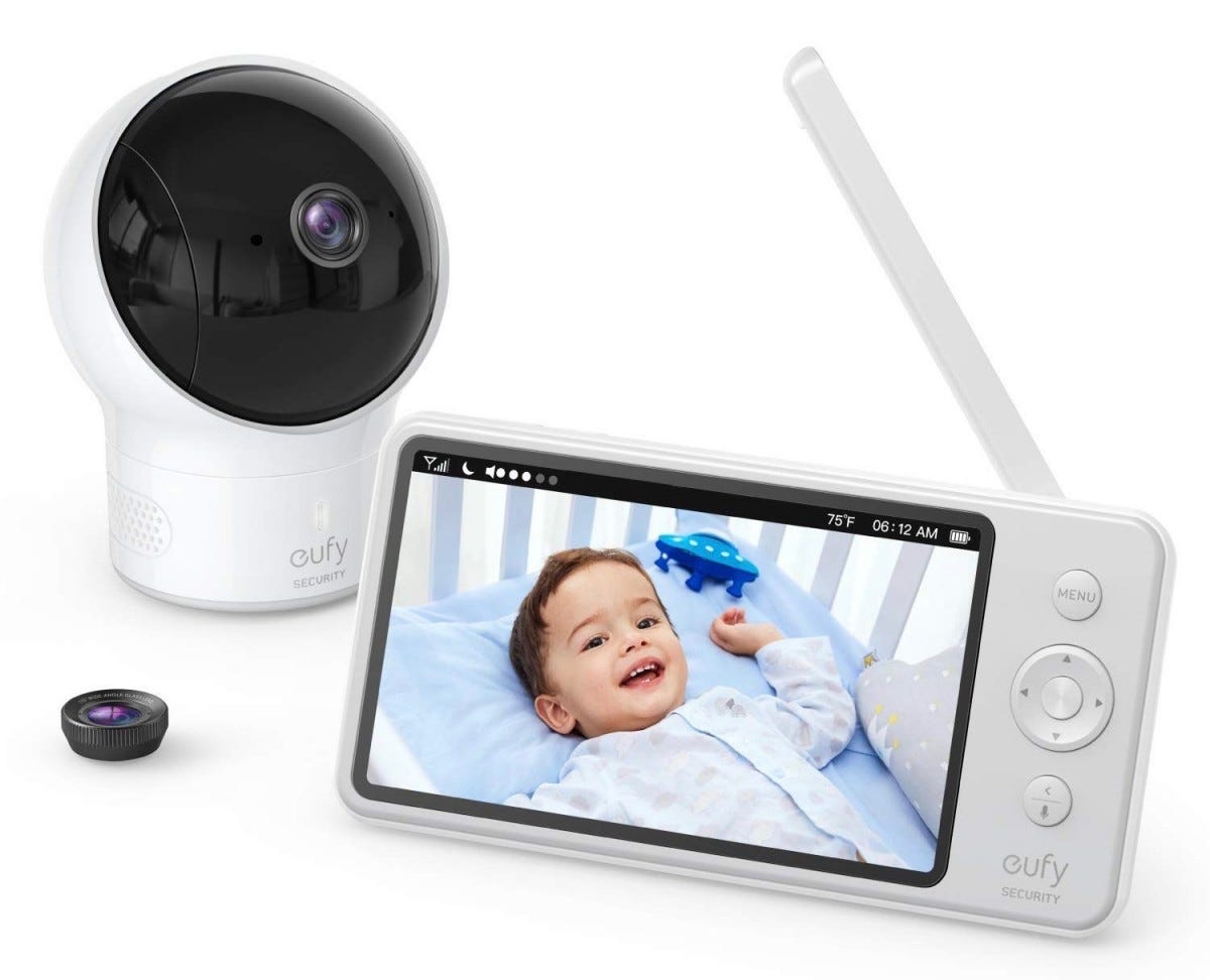 The Eufy SpaceView baby monitor with a child being monitored on the video screen.