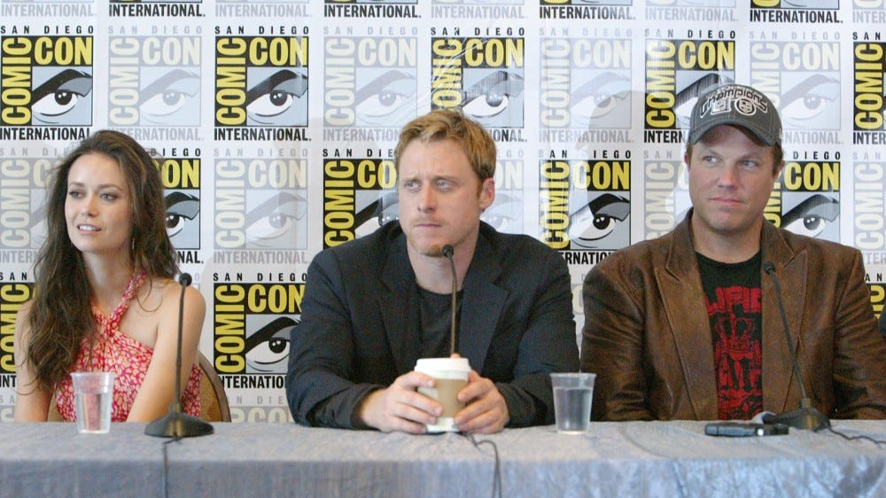 San Diego Comic-Con panel for TV show Firefly with actors Summer Glau, Alan Tudyk, and Adam Baldwin