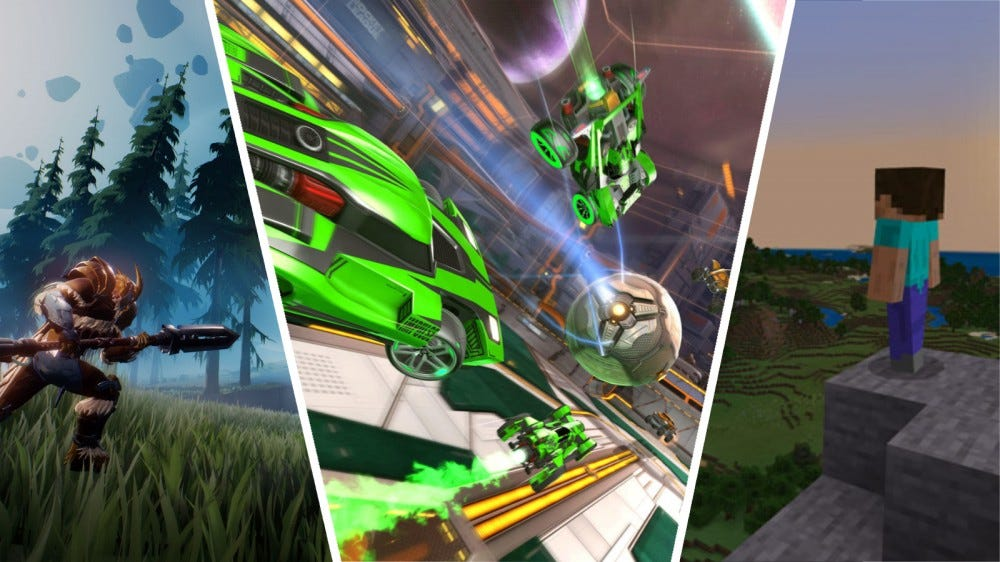 Dauntless, Rocket League, and Minecraft