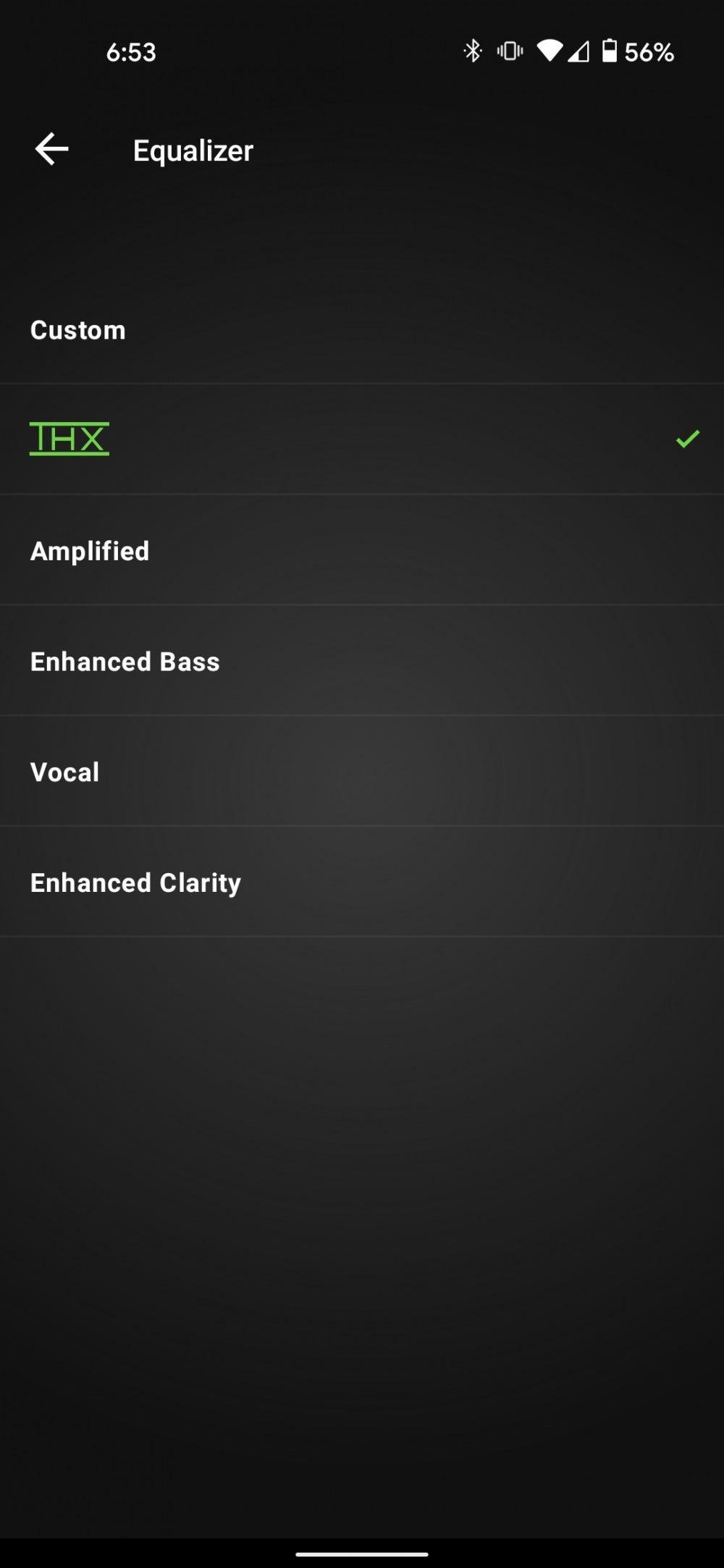 A screenshot of the EQ presets