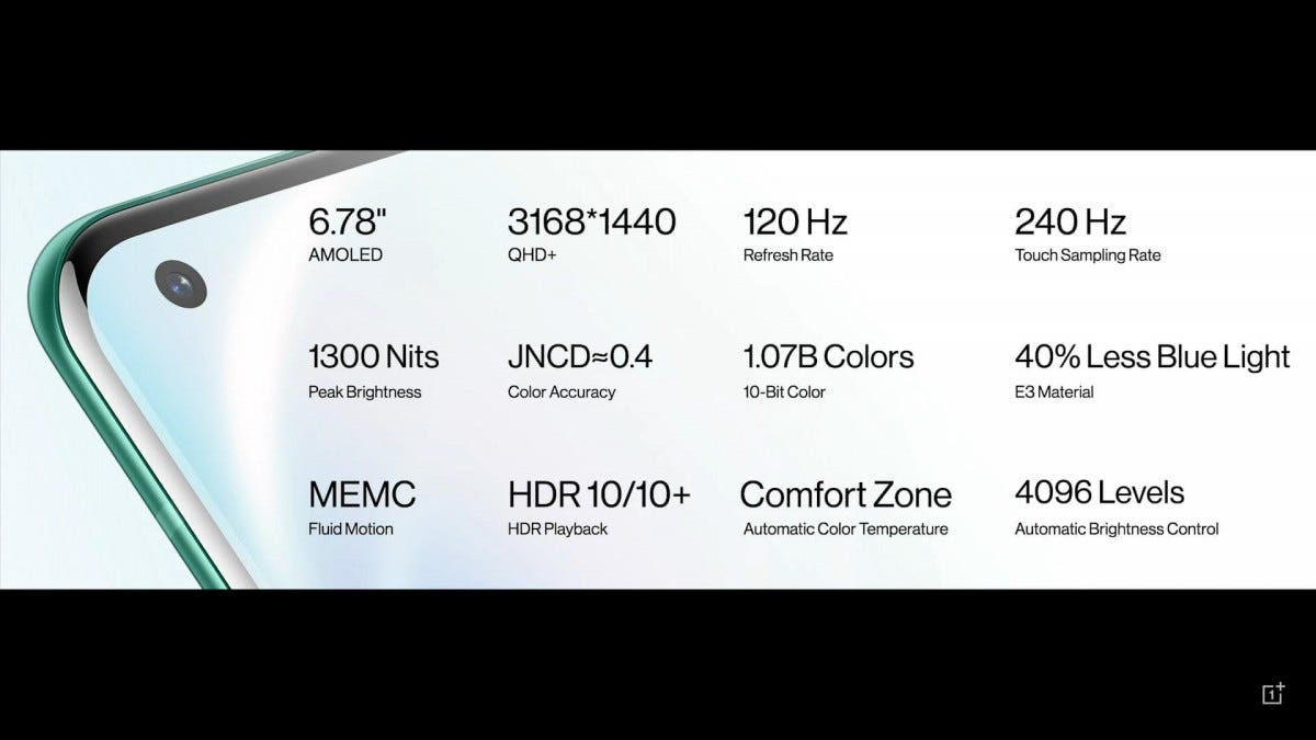 A closeup of the OnePlus 8 Pro with various specs.