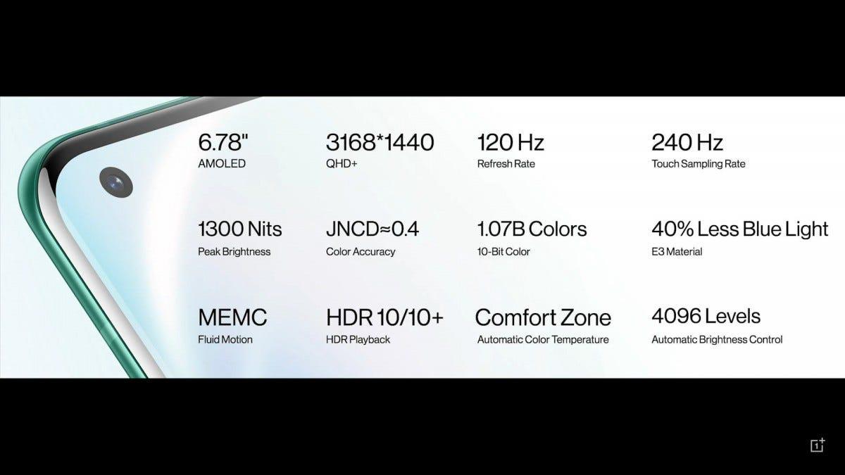 Cận cảnh OnePlus 8 Pro với nhiều thông số kỹ thuật khác nhau.