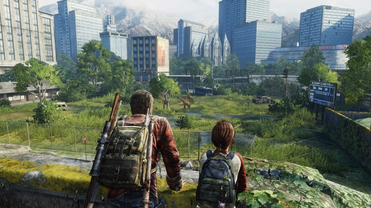 Joel and Ellie looking at the giraffes in The Last of Us