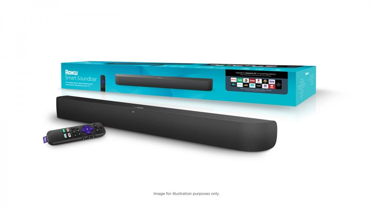 The Roku Sound bar with box and remote.