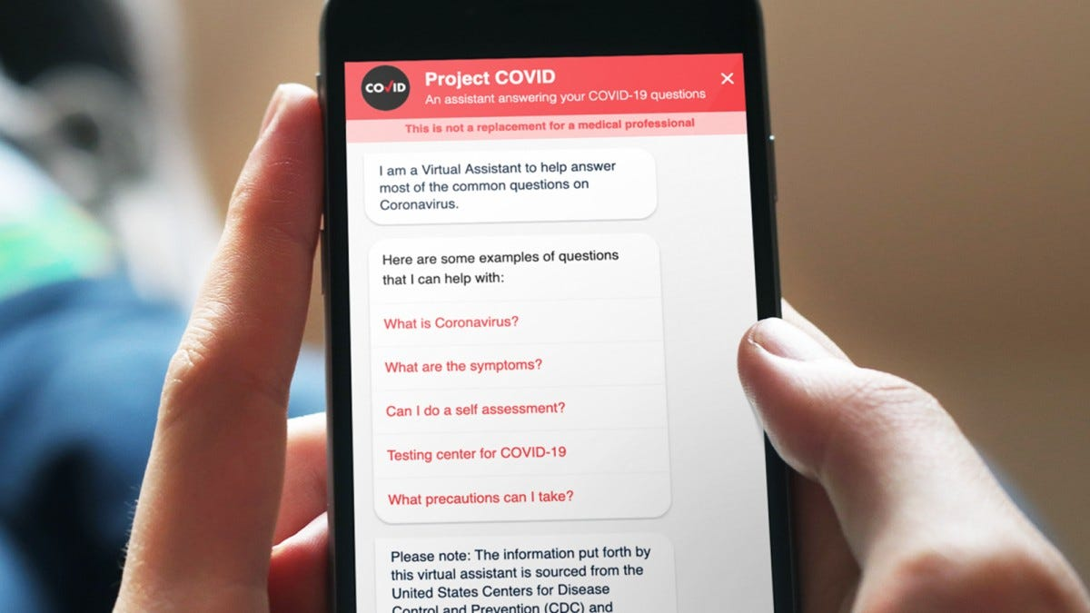An iPhone witht he Project Covid website pulled up.