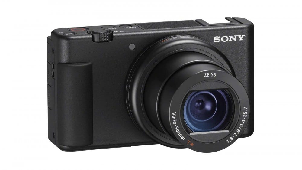 A Sony ZV-1 Camera with lens zoomed out.