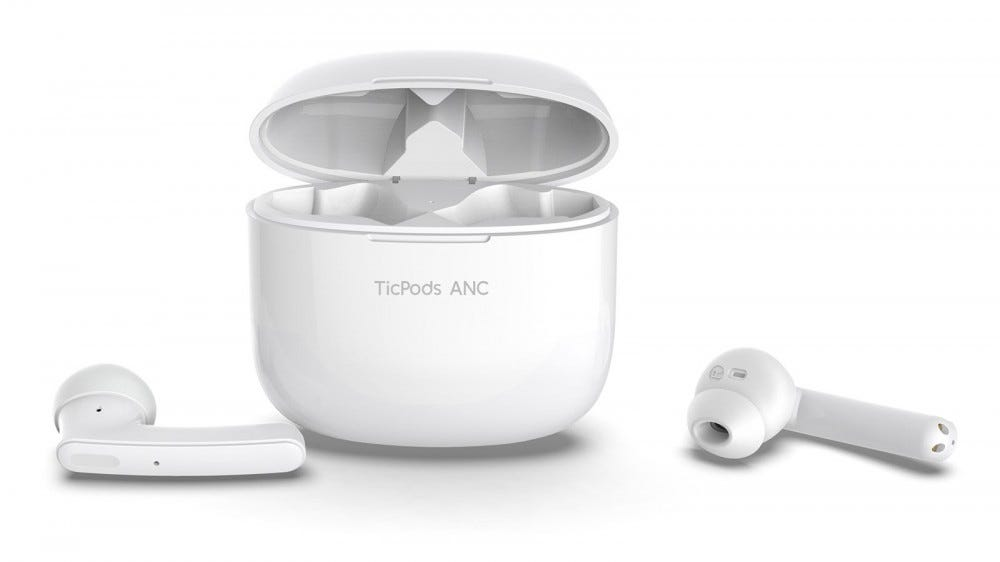 A white pair of TicPod earbuds and their case.