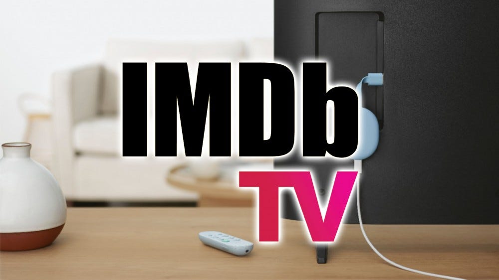 The IMDb TV logo over a Chromcast with Google TV.