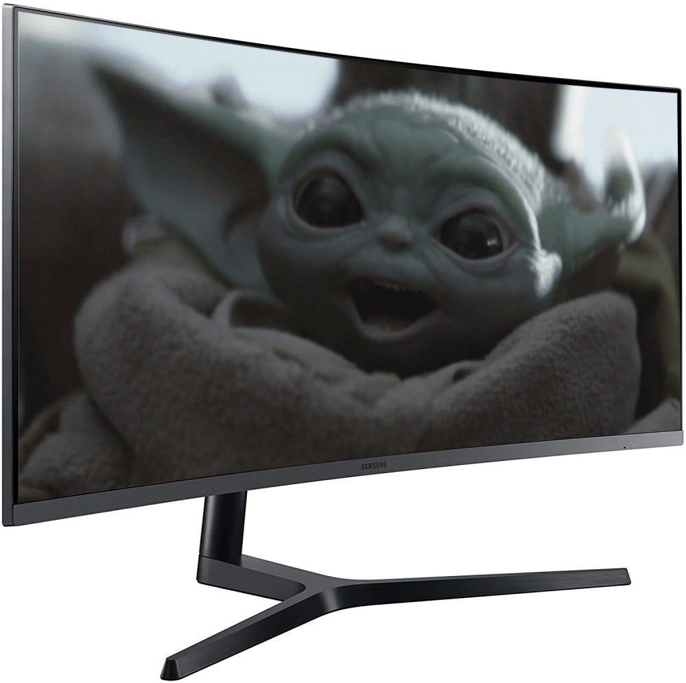 Baby Yoda on a Samsung monitor