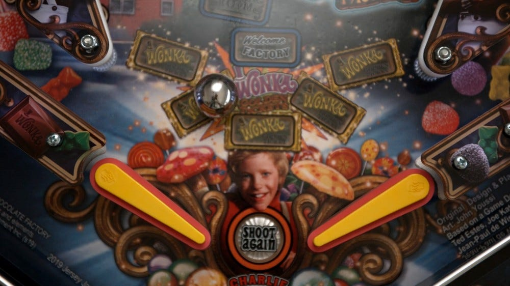 A screenshot of the Willy Wonka pinball machine used in The Slow Mo Guys' video.