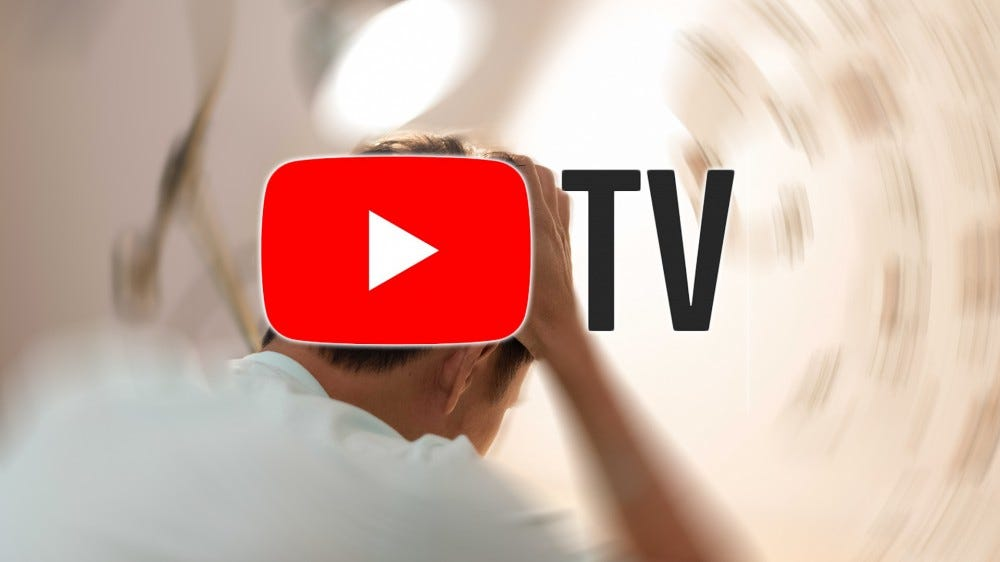 A man gets a migraine after hearing about YouTube TV's price increase.
