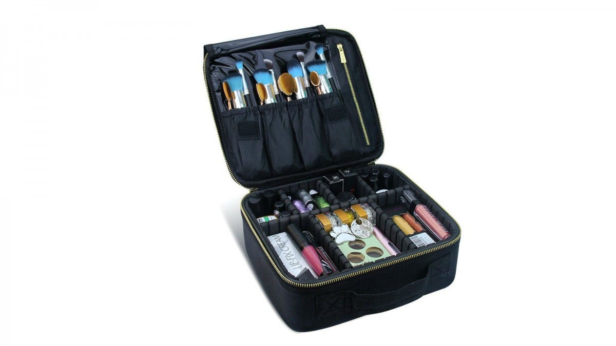 The Chomeiu Travel Makeup Case full of brushes and cosmetics.