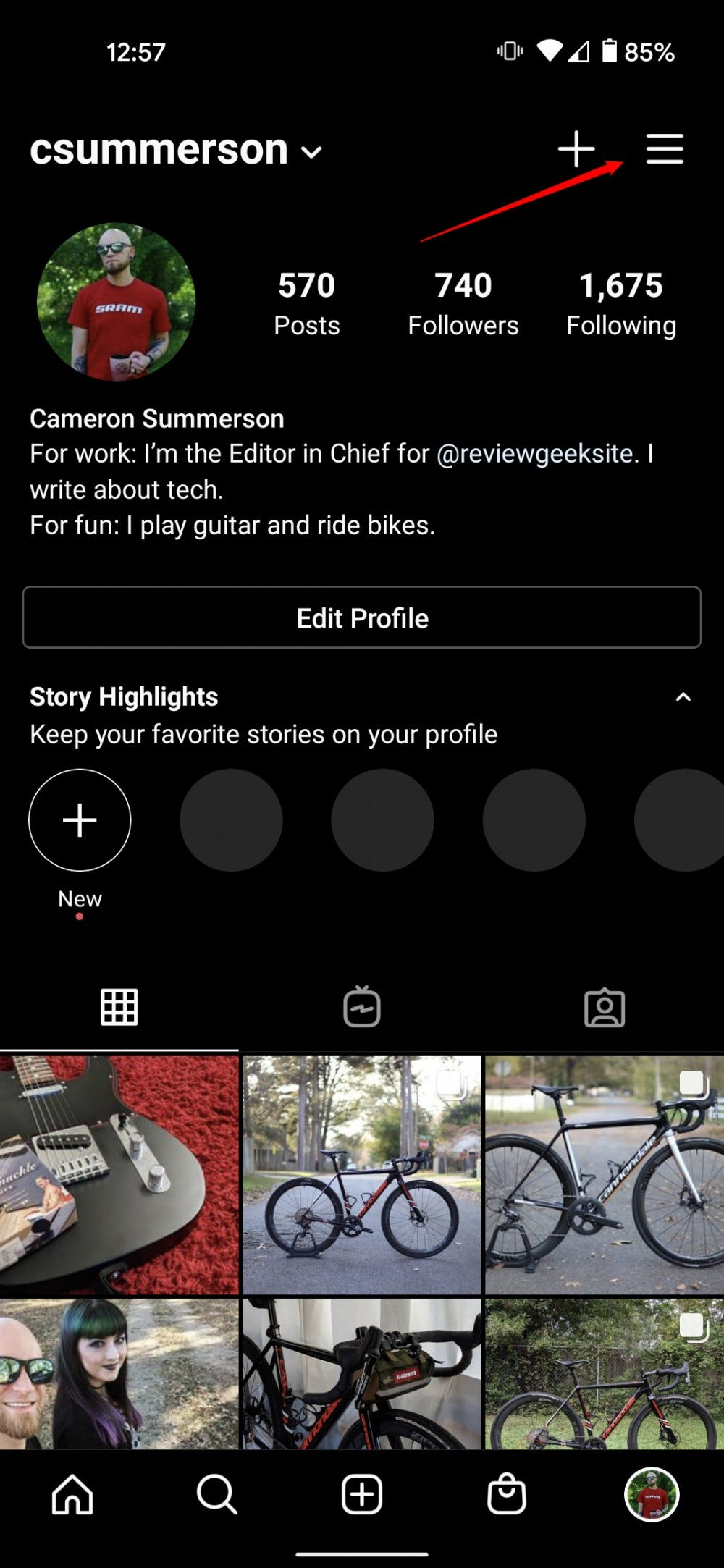 A screenshot of a profile on Instagram, highlighting the menu button