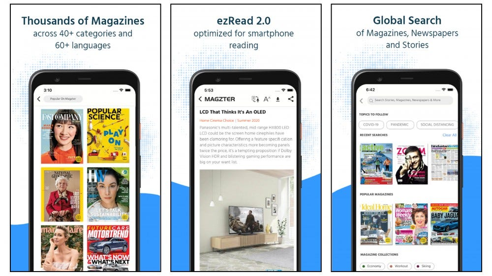 Magzter magazine selection and best sellers and page view display