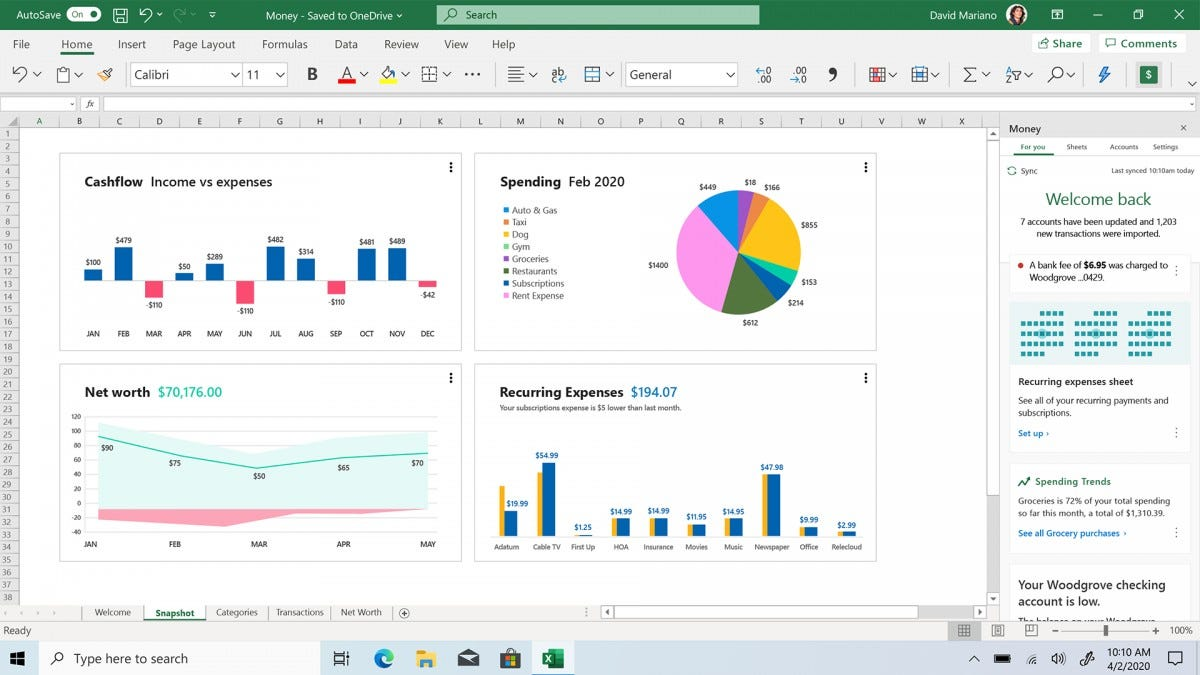 A screenshot of the updated Excel app with Money.
