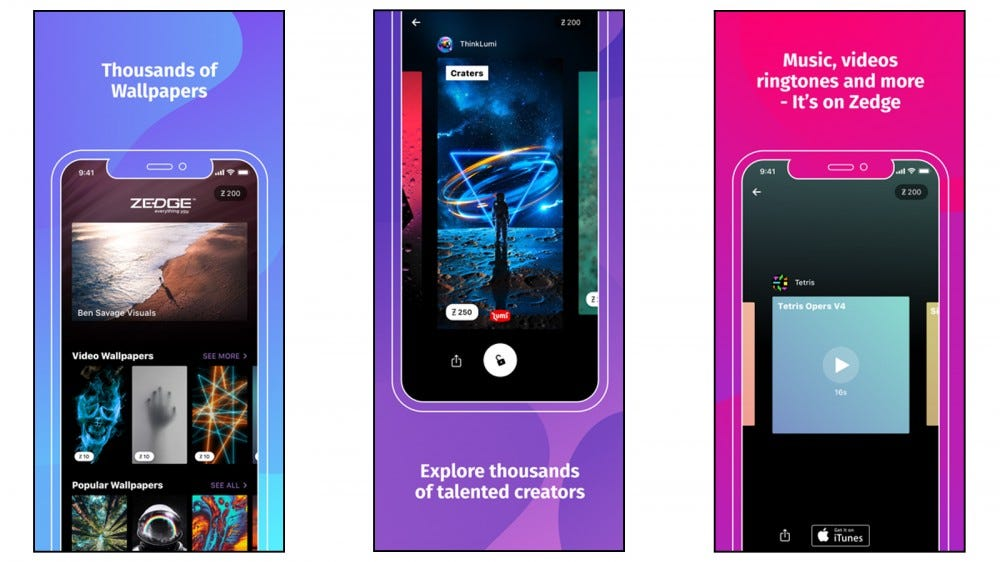 Zedge app for finding ringtones and wallpapers