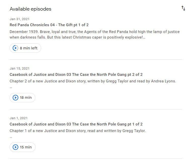 Google Podcasts web interface