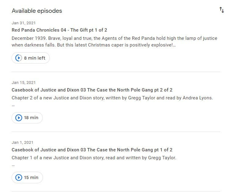 Web interface of Google Podcasts