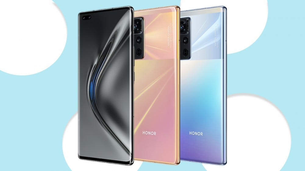 A photo of the Honor View 40 in black, rose gold, and light blue (titanium silver).