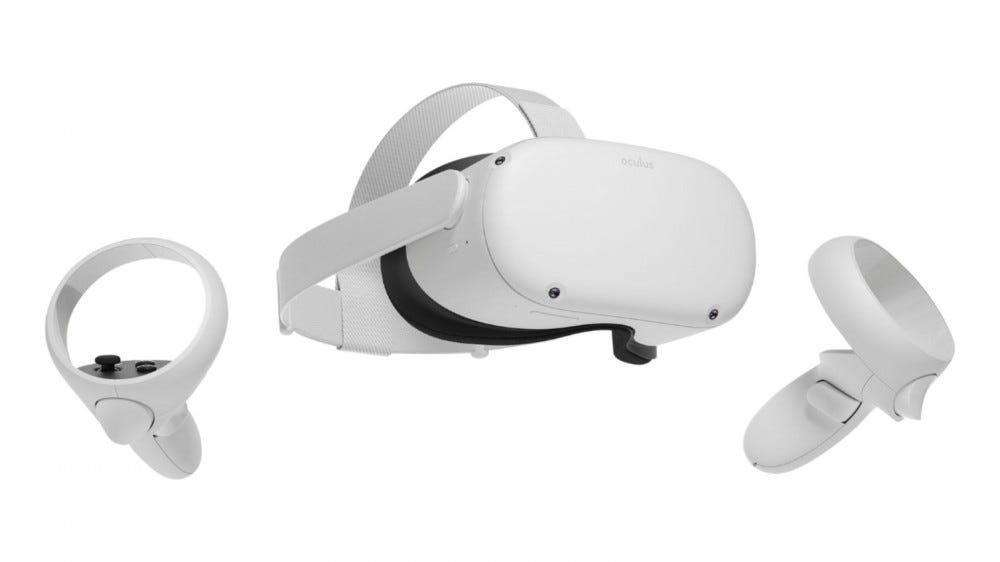 Oculus Quest 2 headset with controllers