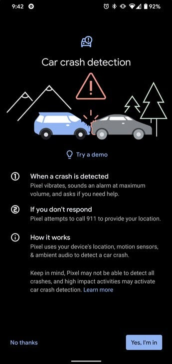 Car crash detection on the Pixel 4