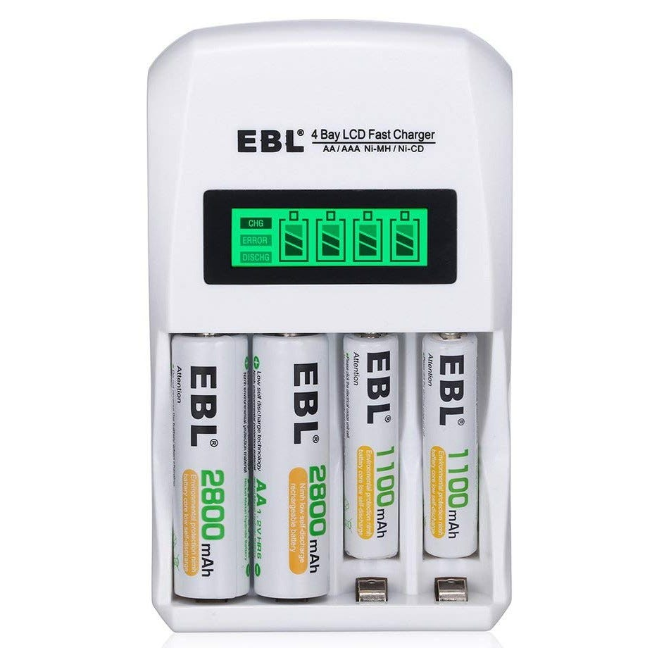 ebl, rechargeable batteries, battery charger, charger,