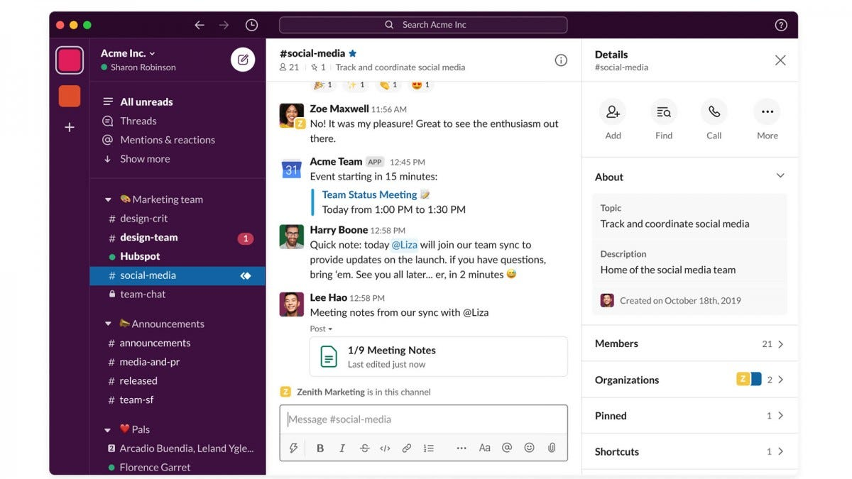 A redesigned Slack app with customizable sidebar and search bar up top.