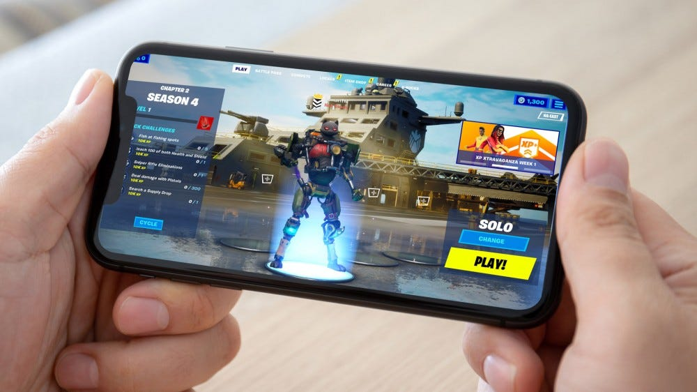 Fortnite running on an iPhone (mock-up)