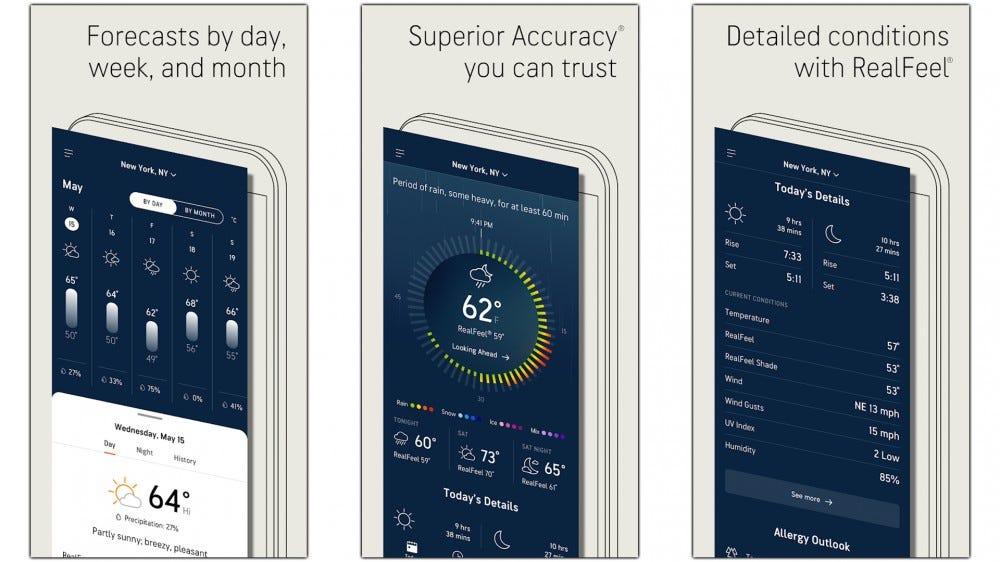 Screenshots of the updated AccuWeather UI.