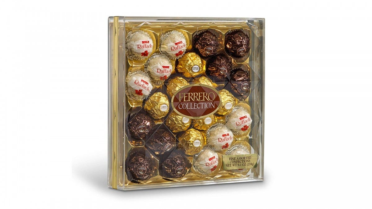 The FERRERO ROUCHER assorted chocolate box.