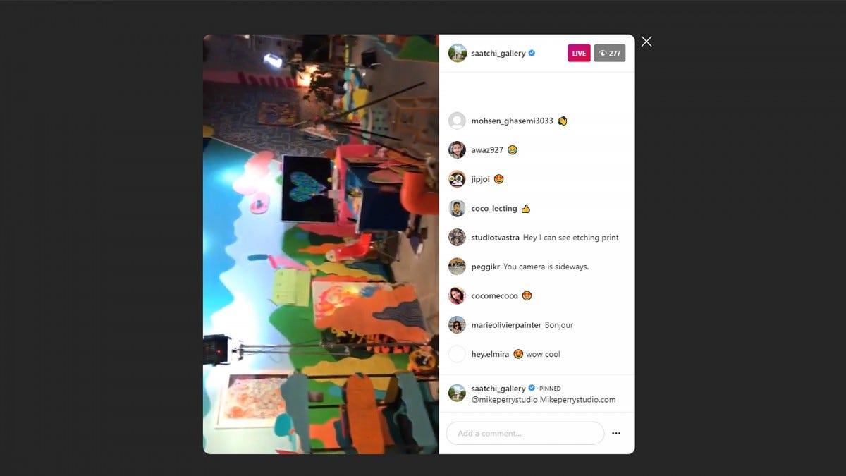 A screenshot of Saatchi Gallery on Instagram Live.