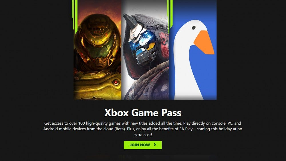 A screenshot of the Xbox Game Pass website.