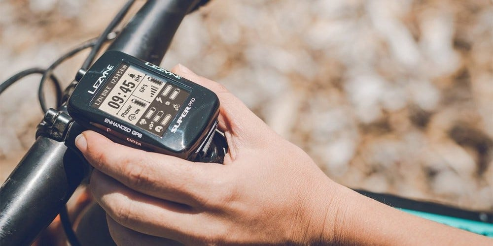 The Lezyne Super Pro GPS installed on a mountain bike
