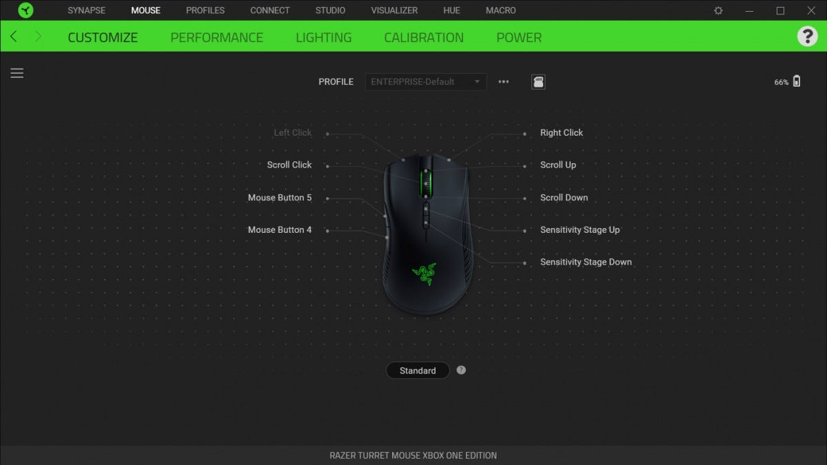 A screenshot showing the mouse controls in Razer's Synapse software.