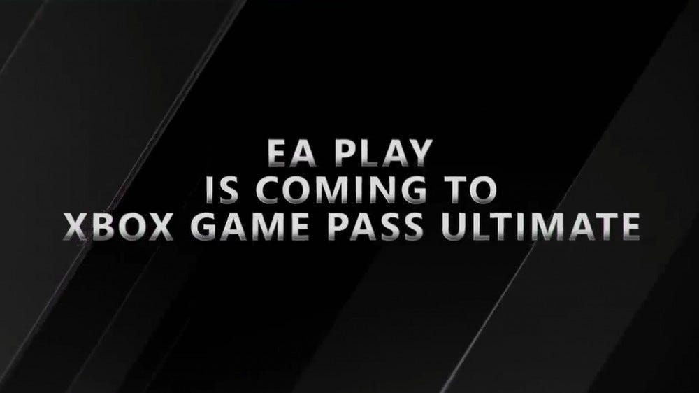 "A banner stating that ""EA Play Is Coming to Xbox Game Pass Ultimate."""