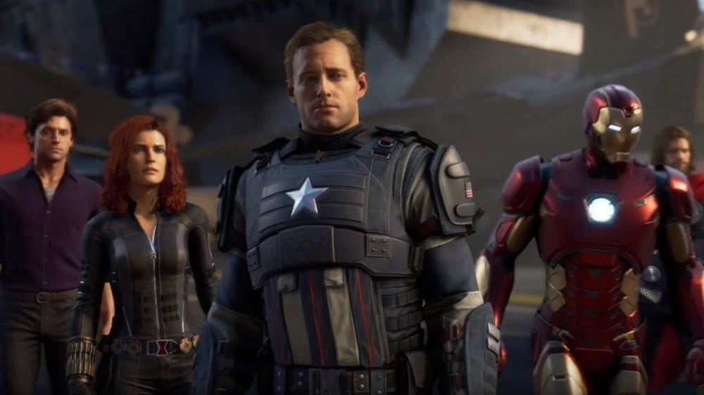 Avengers characters looking sad.