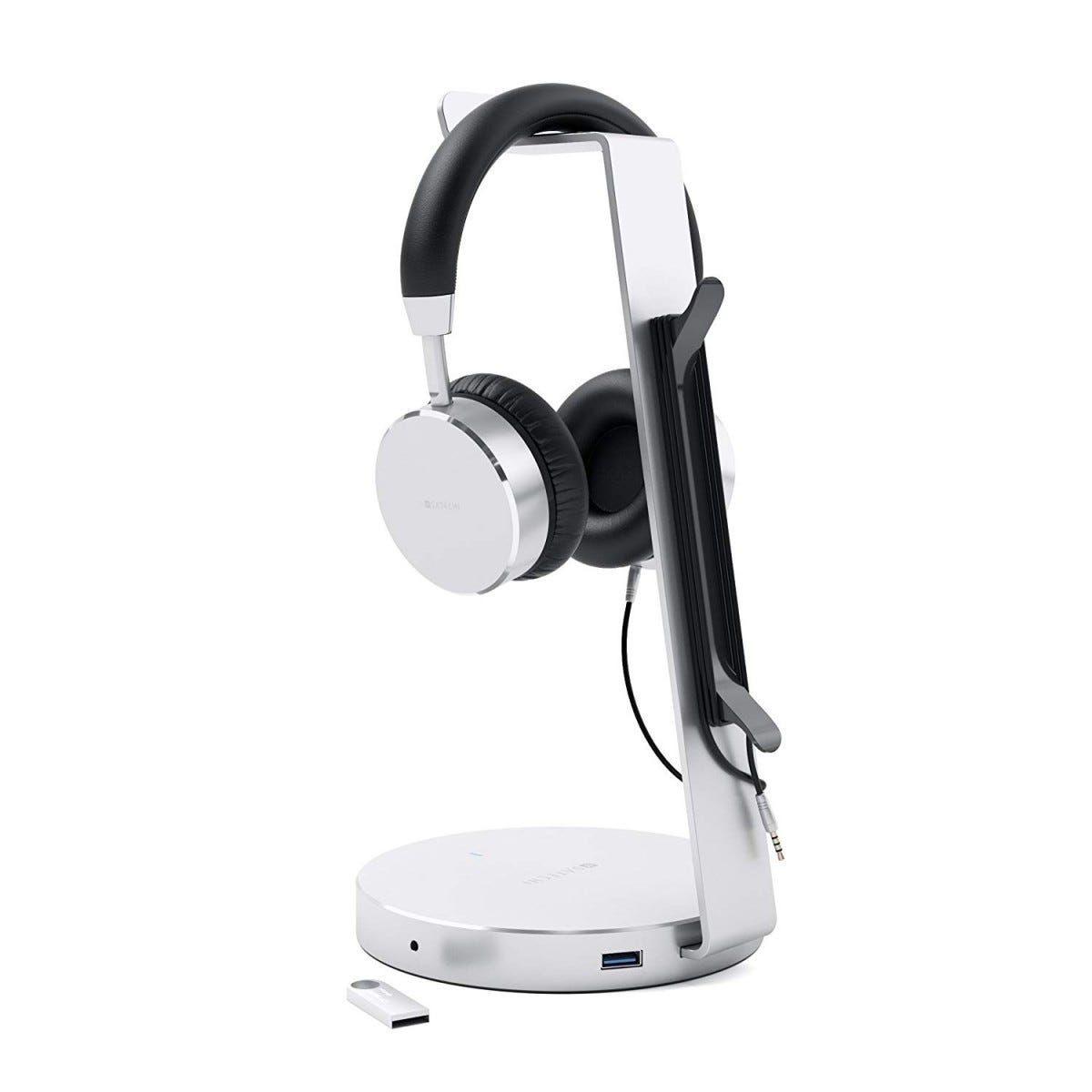 Satechi aluminum headphone stand with integrated USB ports, audio ports, and cable management