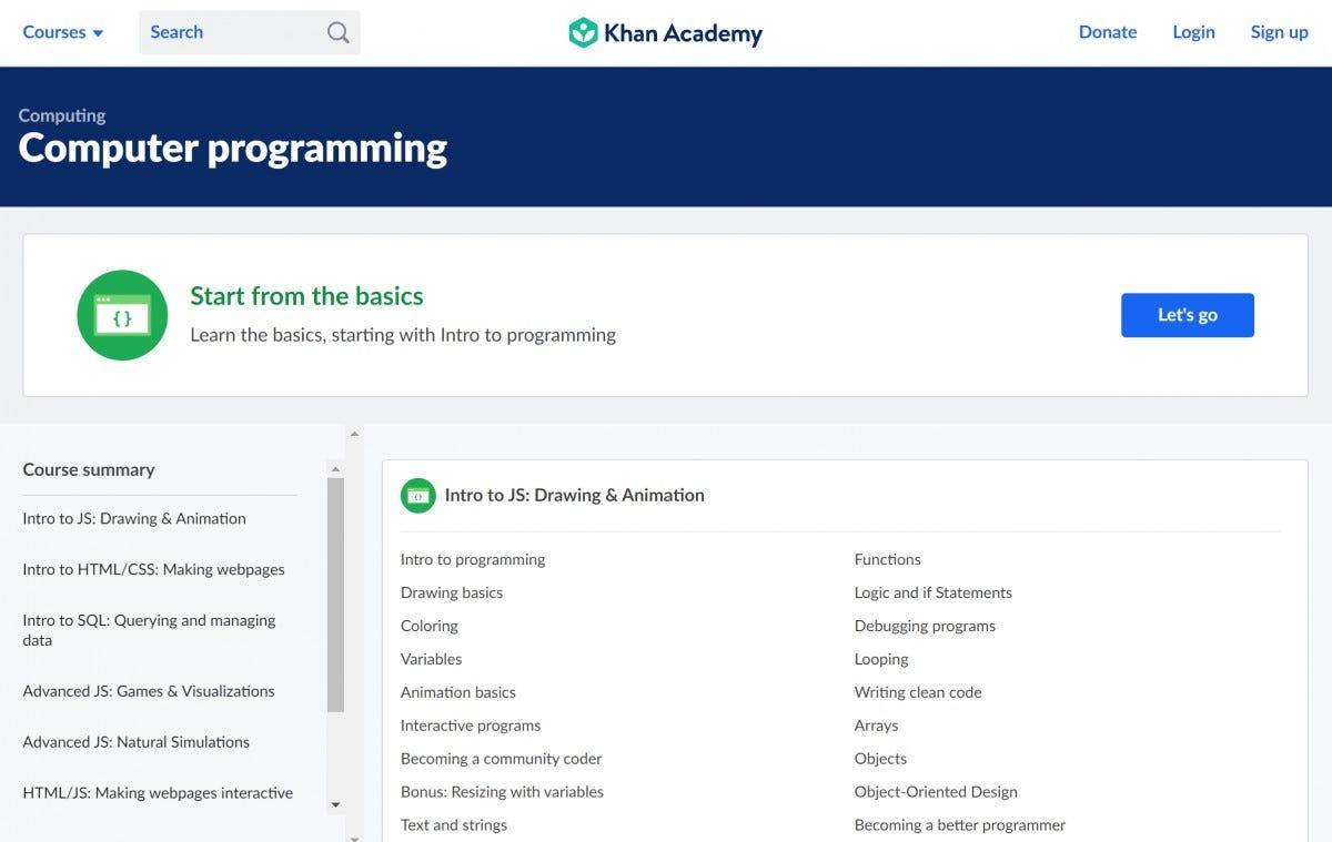 Khan Academy Coding Courses