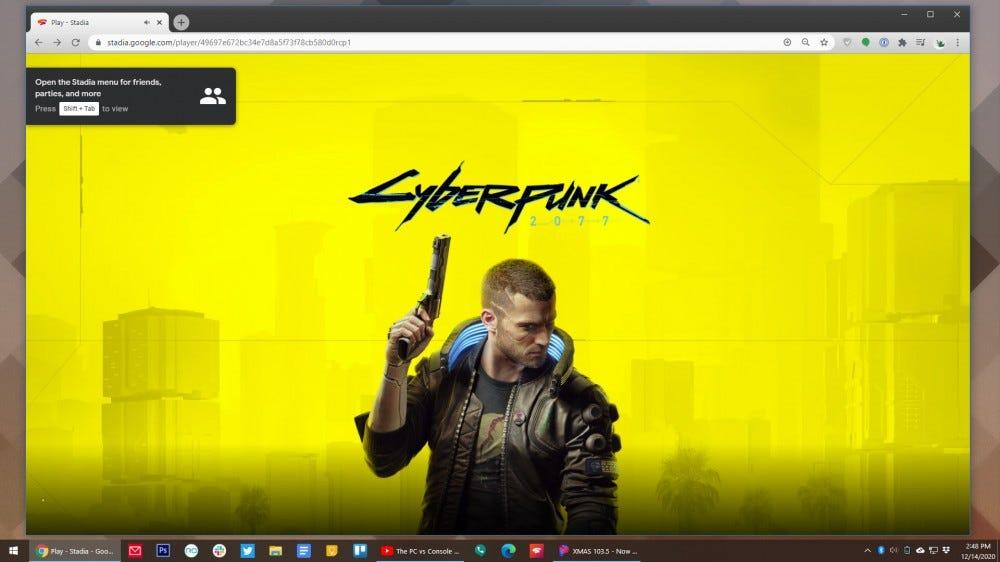 Cyberpunk 2077 running on Stadia