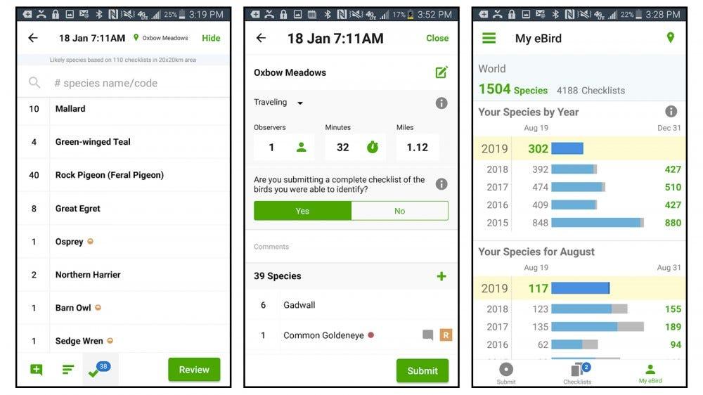 eBird app screenshots