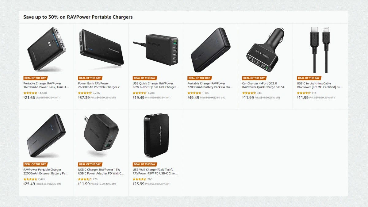 A screenshot of the RAVPower batteries and chargers