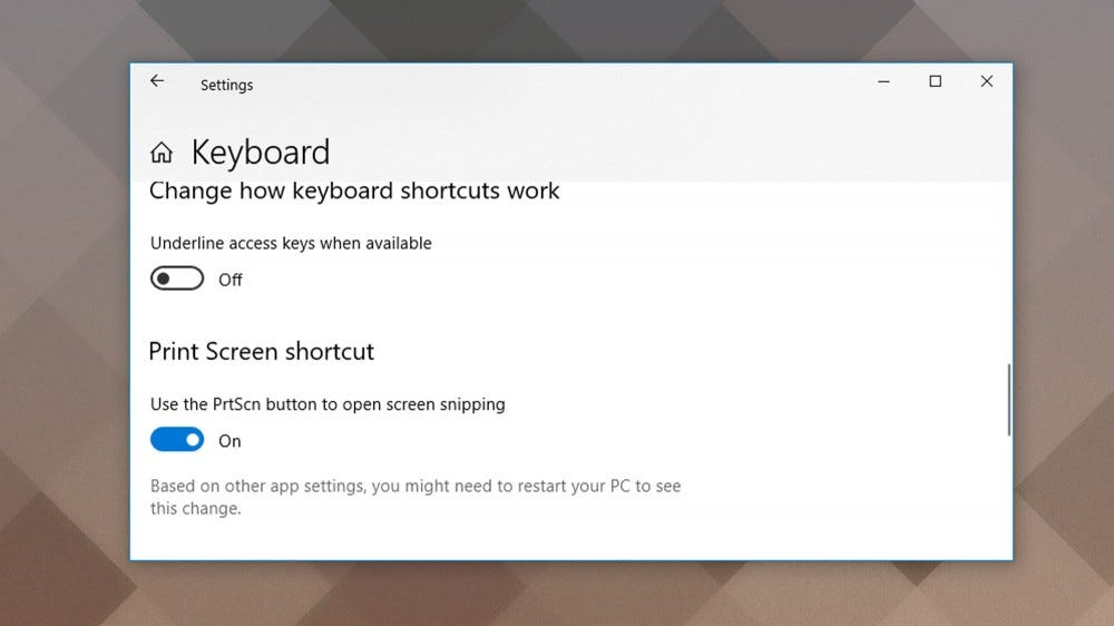 A screenshot of the Windows 10 keyboard settings menu.
