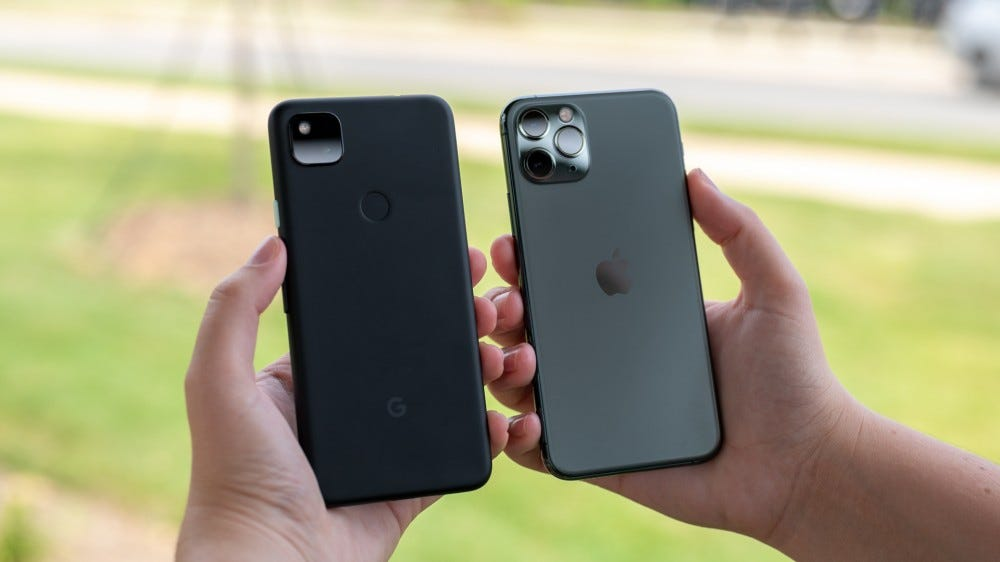 The back of the Pixel 4a and the iPhone 11 Pro