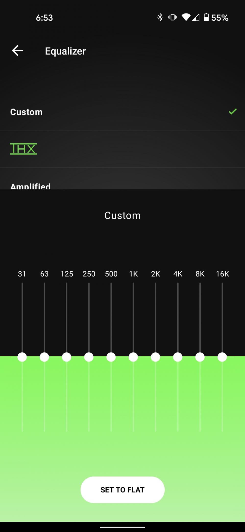 A screenshot of the flat EQ.